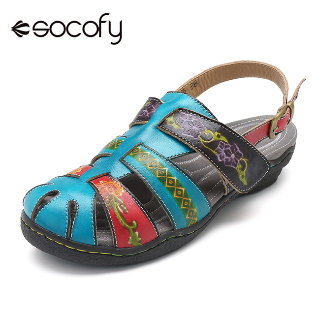 1693046af7b1 Socofy Vintage Fisherman Shoes Handmade Genuine Leather Buckle Ankle Strap Beach  Sandals Women Shoes Bohemian Casual Flat Sandal
