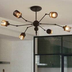 Nordic kreatywny żelazna klatka lampa wisząca hotel restauracja cafe bar rdzy czarny biały zawieszenie światło projekt pająk oświetlenie