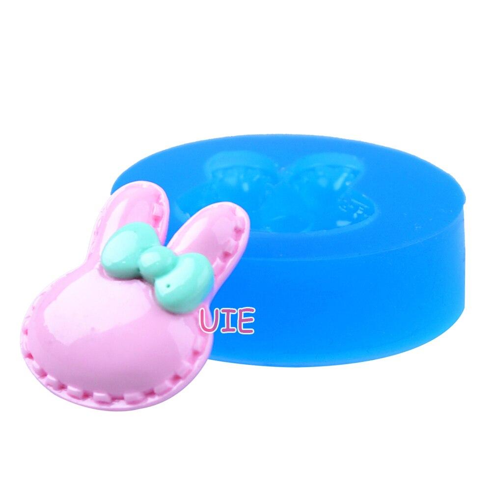 DYL465U 25 мм кролик/Банни голова с бантом Силиконовые Push Mold-десерт, Sugarcraft, помады, шоколад, ювелирная смола, Cookie