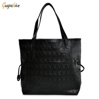 Stylish Hip Hop Skull Print PU Leather Handbag Ladies Waterproof Large Casual Top Handle Bag Cool