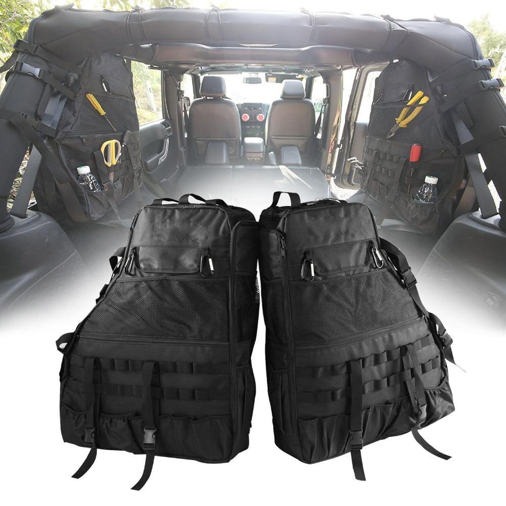 Chuang Qian 2X Roll Bar Tool Storage Bag Multi-Pockets Saddlebag Organizers Cargo for Jeep Wrangler JK TJ LJ & Unlimited 4-Door