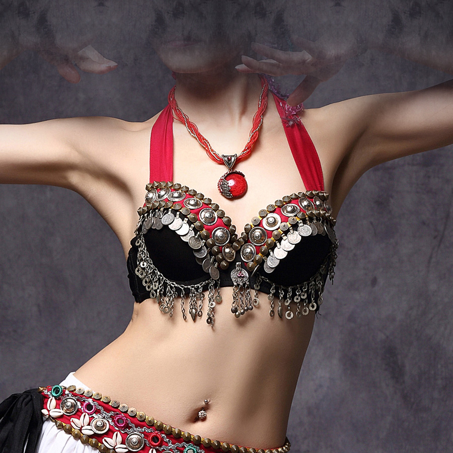2018 Tribal Belly Dance Bra Tops Ats Coins Top Gypsy Dance Bra Lace B/c Cup Metallic Studs Push Up Bra