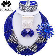 Majalia Fashion Classic Nigerian Wedding African Jewelery Royal Blue Crystal Necklace Bride Jewelry Sets Free Shipping 6ST001(China)