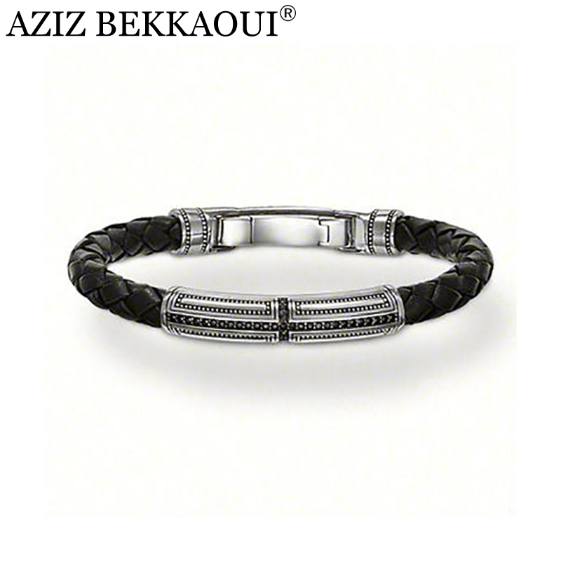 AZIZ BEKKAOUI New design Wholesale Free shipping silver jewelry / silver color beautiful leather bracelet for gift BTH216