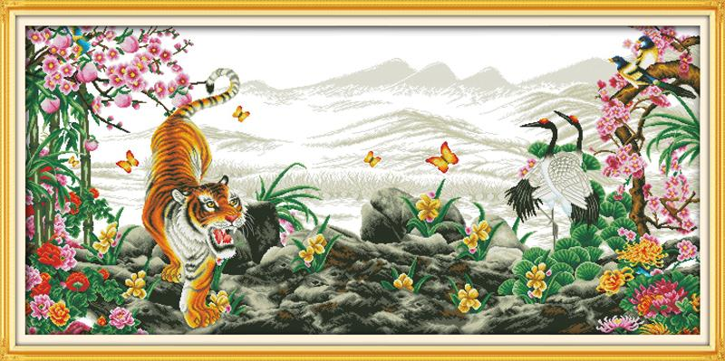Tigers howl with the rise of winds 2 DMC Cross Stitch 14CT 11CT DIY Needlework Counted Cross stitch Kits For Embroidery CraftsTigers howl with the rise of winds 2 DMC Cross Stitch 14CT 11CT DIY Needlework Counted Cross stitch Kits For Embroidery Crafts