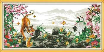 Tigers howl with the rise of winds 2 DMC Cross Stitch 14CT 11CT DIY Needlework Counted Cross stitch Kits For Embroidery Crafts
