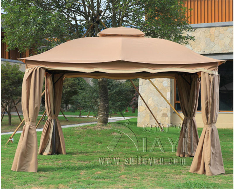 3x3 6 meter deluxe aluminum patio gazebo tent garden shade. Black Bedroom Furniture Sets. Home Design Ideas