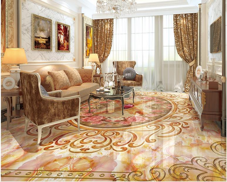 ФОТО custom europe 3d floor tiles Luxurious marble waterproof wallpaper for bathroom floor vinyl flooring adhesives 3d floor murals