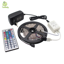 Tanbaby 5050 RGB LED Strip Light Kit 5M 150 leds DC12V Flexible Tape lighting with 44 Key LED controller and 24W Power Adapter