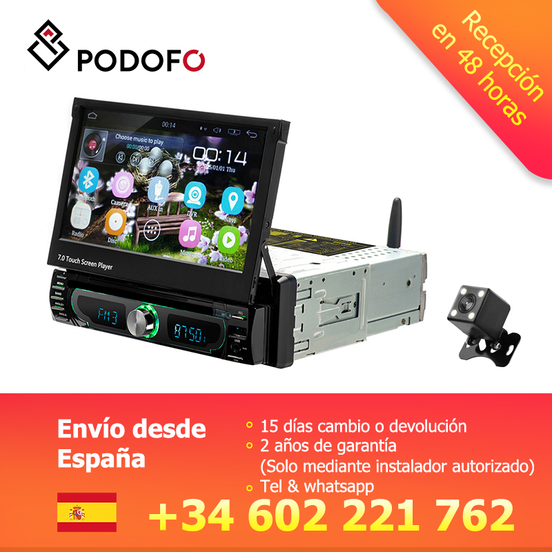 Podofo 1din Android Autoradio DVD lecteur Wifi GPS Navigation Bluetooth 7