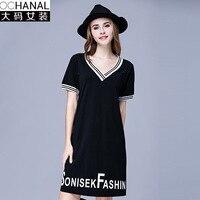 Plus Size V Neck Dresses For Fat Mm Summer New Cotton Thin V Neck Dresses Print