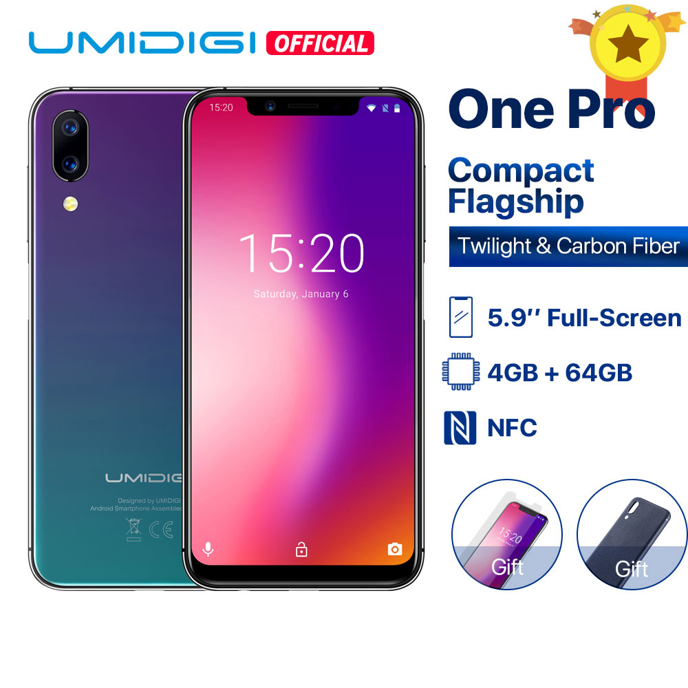 Фото. UMIDIGI One Pro 5,9 дюйм  Андройд 8,1 мобильный телефон беспроводная зарядка 15W 4 ГБ 64 ГБ P23