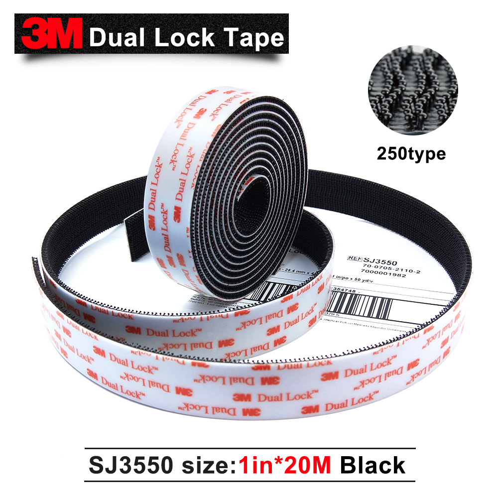 3M SJ3550 self adhesive dual lock black tape with self adhesive Dual Lock tape 25.4mm*20M self tie dual pocket front dress
