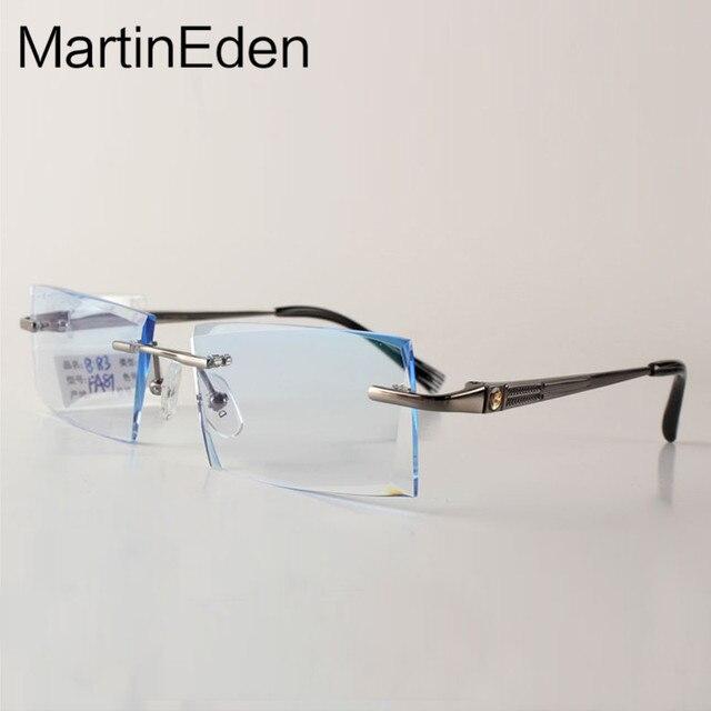 100% Pure Titanium Очки Без Оправы Рамки Для Мужчин Очки Оптические Очки Алмаз Cutoff Индивидуальные Близорукость Линзы По Рецепту