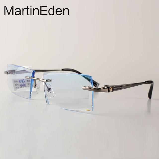 efe0c80fd78 100% Pure Titanium Rimless Glasses Frame For Men Spectacles Optical Eyewear  Diamond Cutoff Customized Myopia