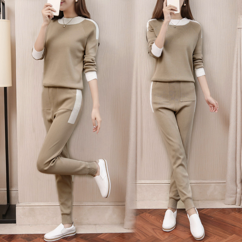 fall winter Woolen and Cashmere Knitted warm Suit O collar Sweater + Cashmere Harem pants loose style two-piece set women knit