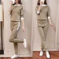 fall winter Woolen and Cashmere Knitted warm Suit O collar Sweater + Cashmere Harem pants loose style two piece set women knit