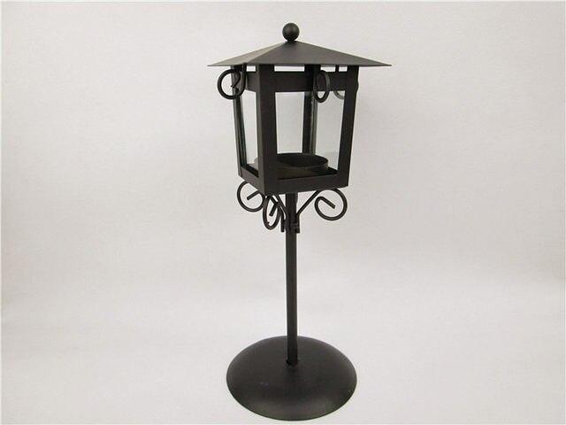 25cm Z Europe Clic Wrought Iron Street Lamp Candle Holder 1pc Gl Hurricane Candlestick Home Wedding Decor Gift