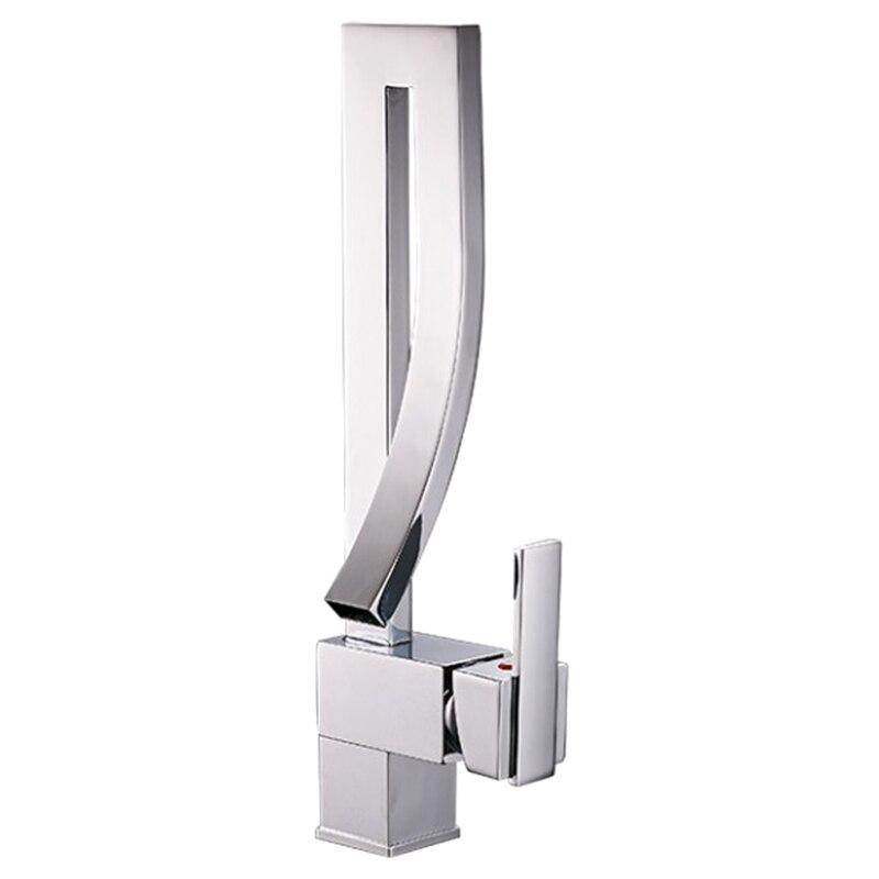 Offre spéciale robinets de bassin mitigeur pont monté carré haut salle de bain évier robinet mélangeur d'eau chaude et froide