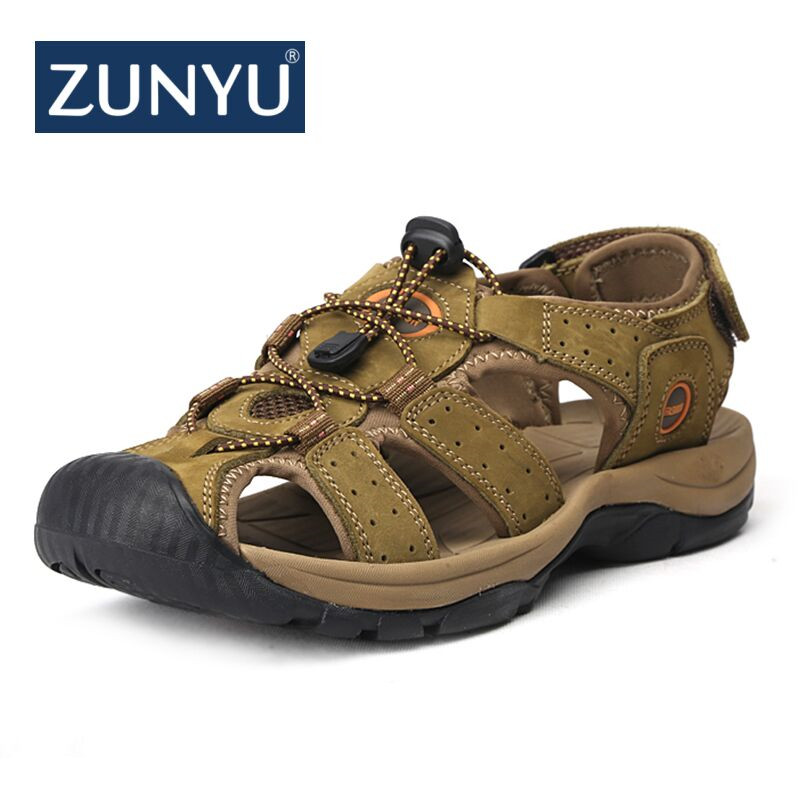 ZUNYU Brand Genuine Leather Shoes Summer New Large Size Mens Sandals Men Sandals Fashion Sandals And Slippers Big Size 38-47