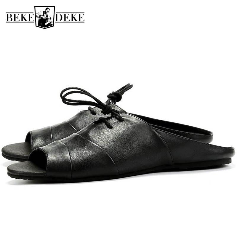 Zapatillas Vintage de cuero de alta calidad, zapatillas de verano para hombre, zapatos de estilo inglés, Sandalias planas de Punta abierta de marca clásica en negro Zapatillas de piel
