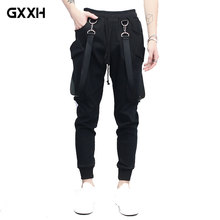New Men's Bib pants Wild Hip Hop Sling Feet Harem pants Male Korean version of the youth Casual Thin Section Slim Black pants