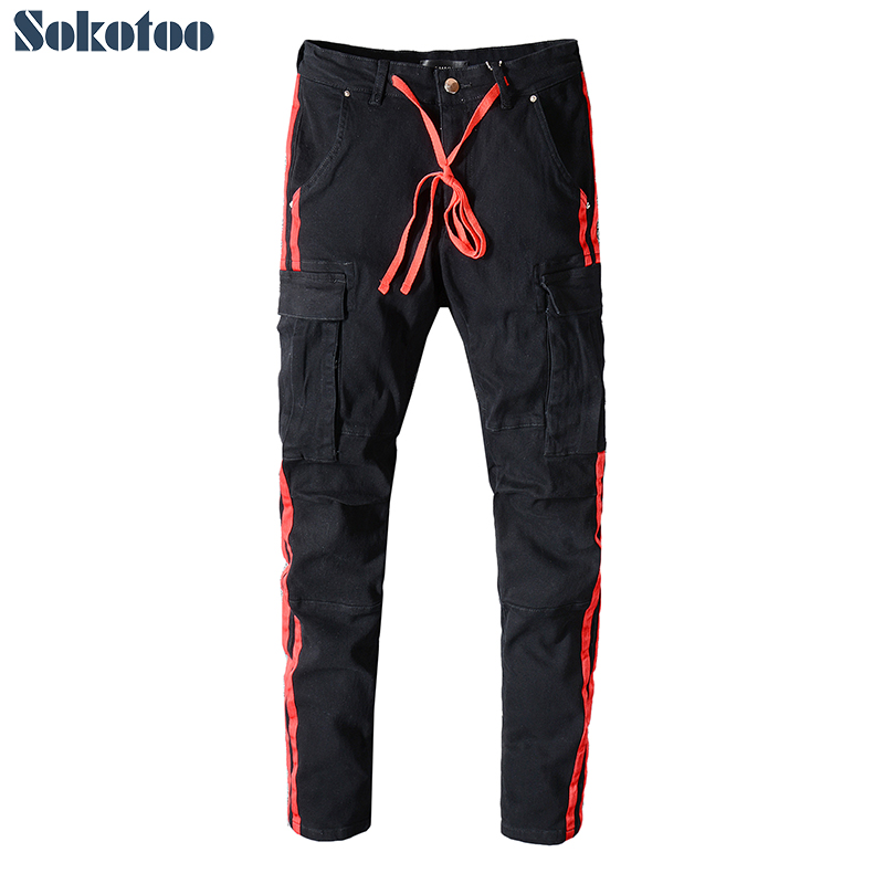 Sokotoo Men's Red Lines Black Pockets Cargo Jeans Slim Fit Stretch Denim Pants