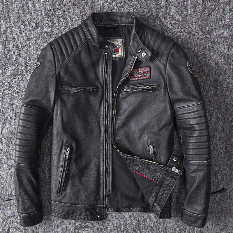 Drop Shipping 2019 Men Black Skull Embroidery Genuine Leather Coats Motorcycle Jacket Real Head Layer Cowhide 4XL New Clothing(China)