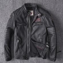 Мужские Зимние Куртки из натуральной кожи, мотоциклетная куртка пилота, куртка-бомбер для мужчин из натуральной кожи, мужская куртка авиатора