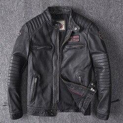 Chaquetas de cuero auténtico de invierno para hombre, piloto chaqueta de aviador de motocicleta para hombre, chaquetas de aviador de cuero Natural para hombre, 2019
