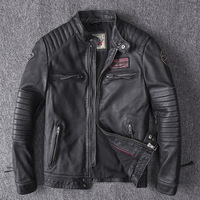 Drop Shipping 2019 Men Black Skull Embroidery Genuine Leather Coats Motorcycle Jacket Real Head layer cowhide 4XL new clothing