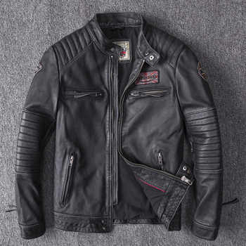 Men's Winter Real Genuine Leather Jackets Motorcycle Flight Pilot Bomber Jackets For Men Natural Leather Male Aviator Coats 2019 - DISCOUNT ITEM  44% OFF All Category