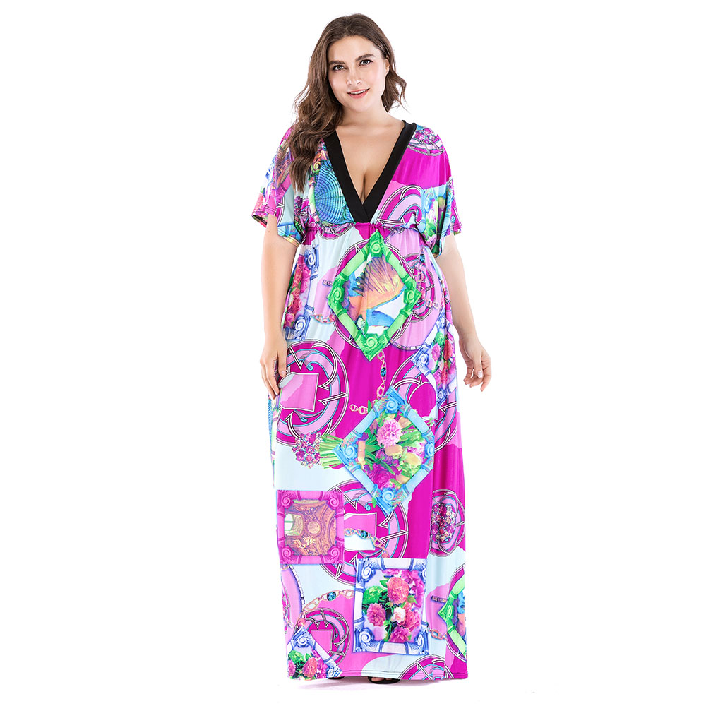 Bohemian Women Summer Beach Dress V Neck Short Sleeve Plus Size 7XL Printed Floral Maxi Dress for Holiday Vestido Longo
