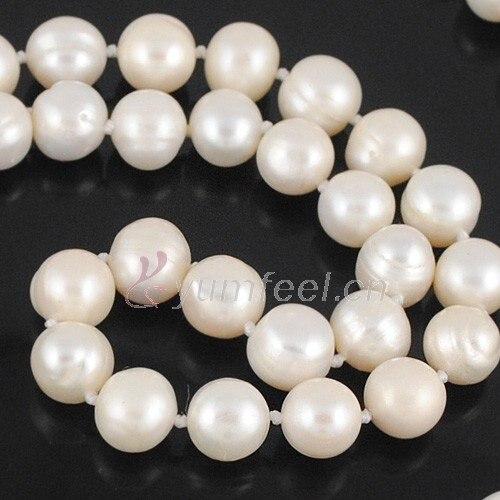 Yumfeel 10-10.5mm collier de perles d'eau douce naturelles nouées 62