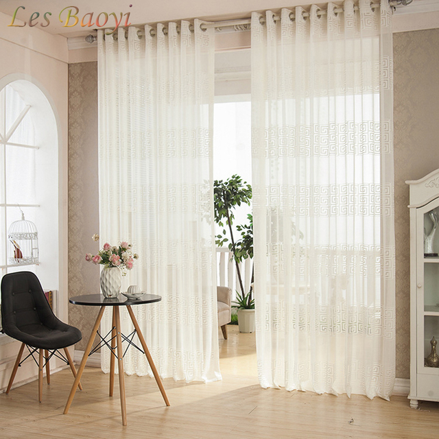 US $22.25 |Les Baoyi European White Embroidered Voile Curtain Bedroom Sheer  Curtains for Living Room Tulle Window Curtains Window Screening-in ...