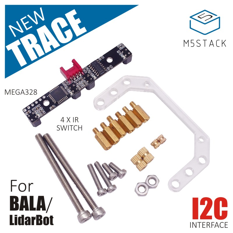 M5Stack New TRACE Board For Lidar Bot Mini Car & M5BALA Balance Car With MEGA328 4*IR Switch GROVE I2C Port IoT Demoboard