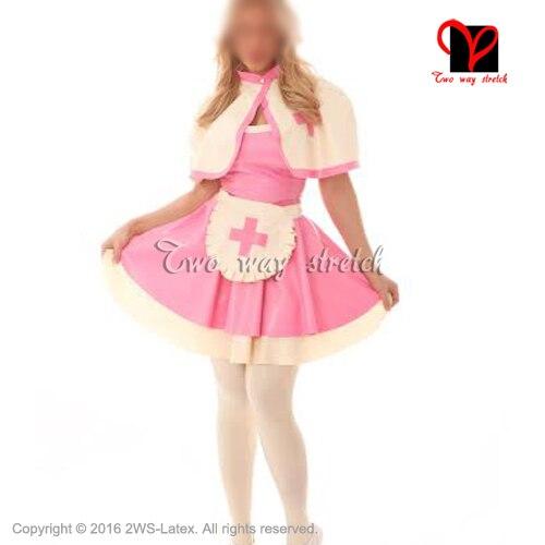 Pink With White Sexy Latex Nurse Dress doctor uniform Set dress Apron Gummi baby doll flares suit Latex uniform outfit QZ-104