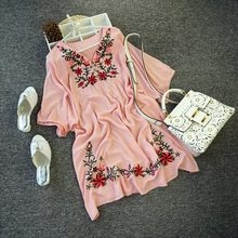 2015d3e2272 2019 Hot Sale Free Shipping Vintage 70s Mexican Ethnic Floral EMBROIDERED  Hippie Blouse DRESS women clothing