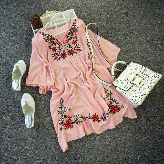 a6f8d72b6 € 11.54 |2019 Venta caliente envío gratis Vintage 70 s mexicano étnico  bordado Floral Hippie blusa vestido de las mujeres ropa vestidos de tamaño  ...