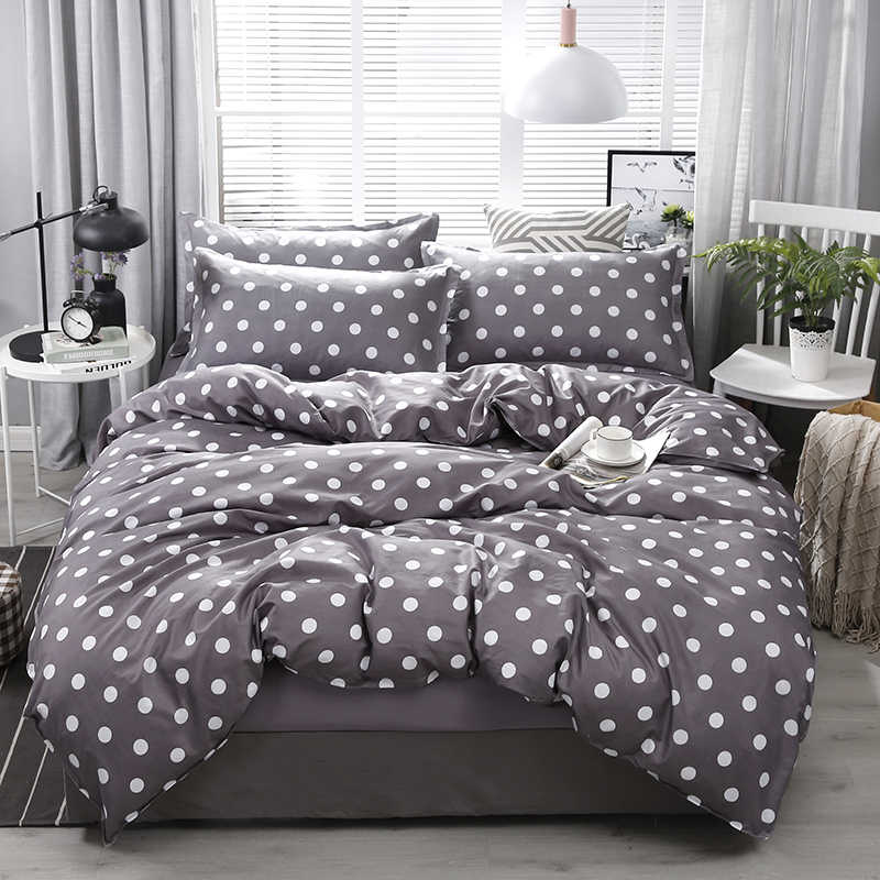 New Arrival High Quality Dark Gray Dot Pattern Bedding Set Bed Linings Duvet Cover Bed Sheet Pillowcases Cover Set 4pcs/set