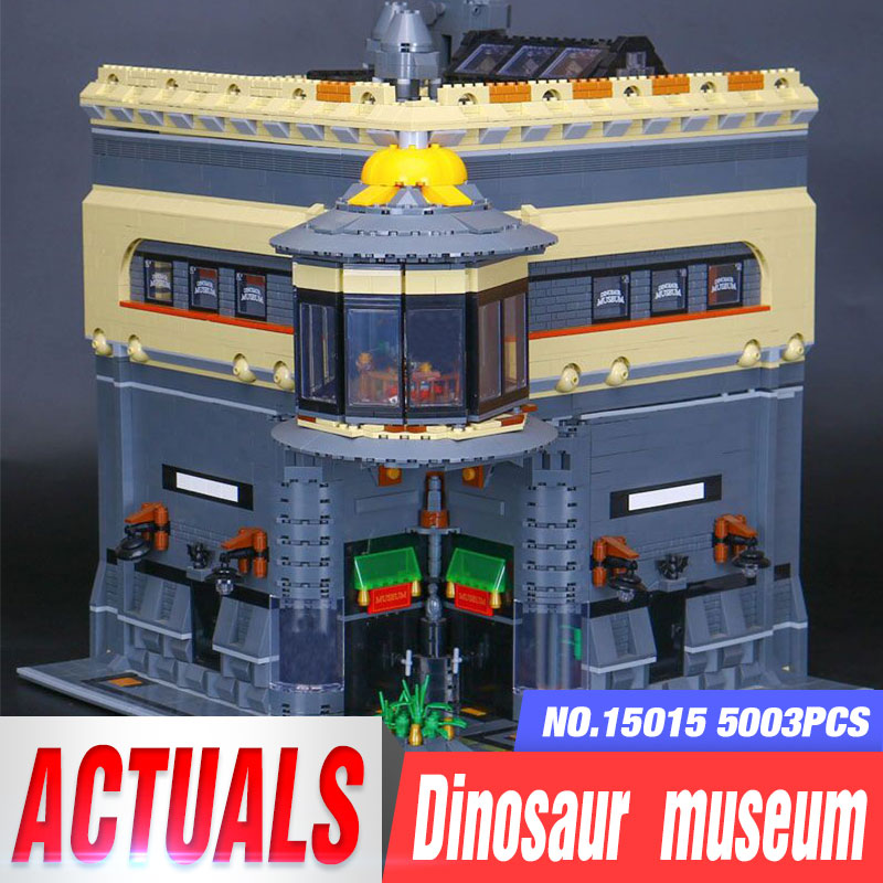New LEPIN 15015 5003pcs City The dinosaur museum Model Building Kits DIY Brick Toy Compatible Children day's Gift for girl Toys lepin 02012 city deepwater exploration vessel 60095 building blocks policeman toys children compatible with lego gift kid sets