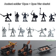 12Pcs Roman Soldier + 2pcs Ancient chariot Model dolls Action Figures Toys Kit DIY Medieval Warrior Model 5-7cm height polyresin ancient greek roman warrior armor model creative home decration aircraft gift