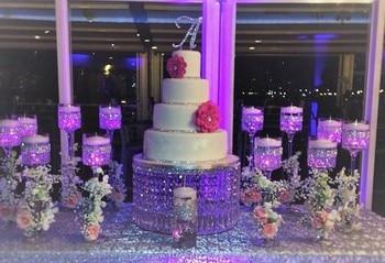 svatební křišťálově transparentní kulatý akrylový krystal Cake Stand - svatební centerpiec, Table Centerpiece
