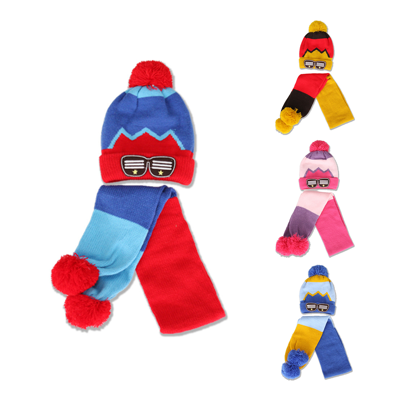 2PCS Knit Kids Hat Scarf Set Cotton Patchwork Baby Hat With Pom Pom Glasses Embroidery Boys Girls Beanies Winter Baby Hat Scarf
