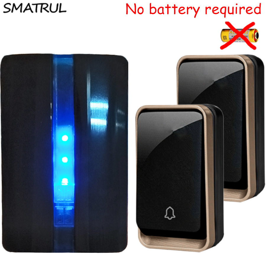 SMATRUL self powered Waterproof Wireless DoorBell no battery EU plug Smart Door Bell electric 2 button 1 Receiver 110V 220V Deaf new restaurant equipment wireless buzzer calling system 25pcs table bell with 4 waiter pager receiver