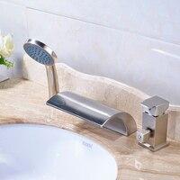Оптом и в розницу Матовый Никель бортике Ванная комната Смеситель кран с ручным душем