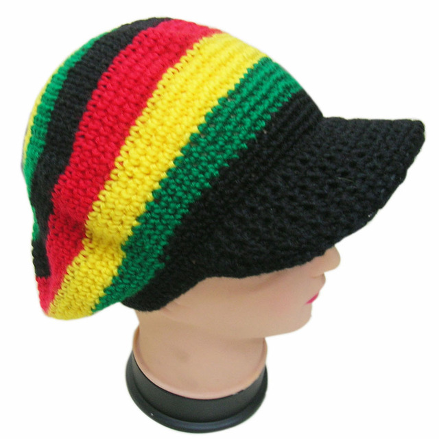 9265be7e046 Knitted Jamaican Cap Reggae Rasta Handmade Knit Crochet Fancy Dress Costume  Halloween Visor Beret Hat