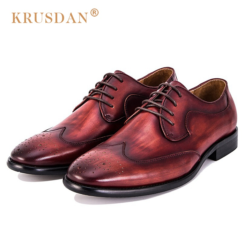 KRUSDAN Luxury Brand Brogue Man Formal Dress Shoes Genuine Leather Handmade Oxfords Round Toe Men's Wedding Party Flats eu38 44 black brown color fashion style men s shoes genuine leather handmade round toe dress wedding brogue oxfored shoes