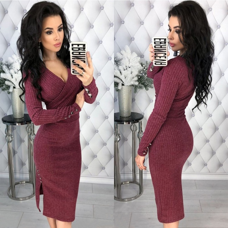 <font><b>Sexy</b></font> <font><b>Deep</b></font> <font><b>V</b></font> Neck Long Sleeve Bodycon Knitted Sweater <font><b>Dress</b></font> Women Autumn Winter Ribbed Elegant Wrap <font><b>Club</b></font> <font><b>Dresses</b></font> Robe Pull image