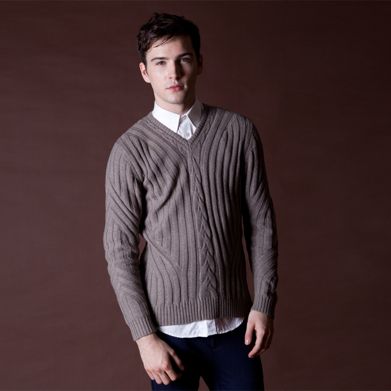 7ee78d4066d Mens Thick Wool Pullovers Winter New Wool Striped V Neck Sweater ...